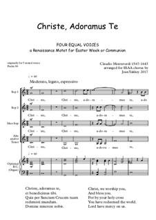 Christe, Adoramus Te: SSAA by Claudio Monteverdi
