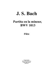 Partita for Flute in A Minor, BWV 1013: For a single performer by Johann Sebastian Bach