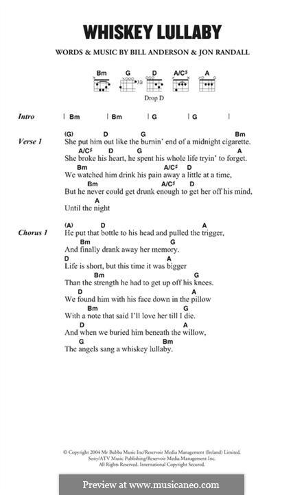 Whiskey Lullaby (Brad Paisley): Melody line by Bill Anderson, Jon Randall