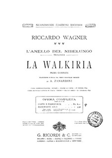The Valkyrie , WWV 86b: Piano score by Richard Wagner