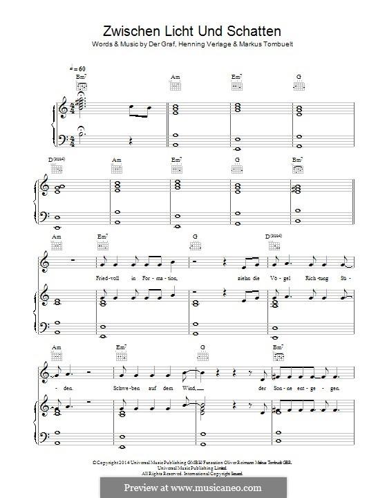 Zwischen Licht und Schatten (Unheilig): For voice and piano (or guitar) by Der Graf, Henning Verlage, Markus Tombuelt