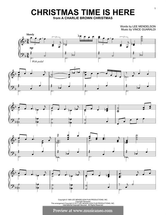 Christmas Time is Here (from A Charlie Brown Christmas), for Piano: For a single performer by Vince Guaraldi