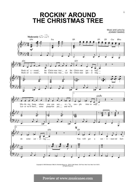 Rockin' Around the Christmas Tree: For voice and piano by Johnny Marks - Rockin' Around The Christmas Tree By J. Marks - Sheet Music On MusicaNeo