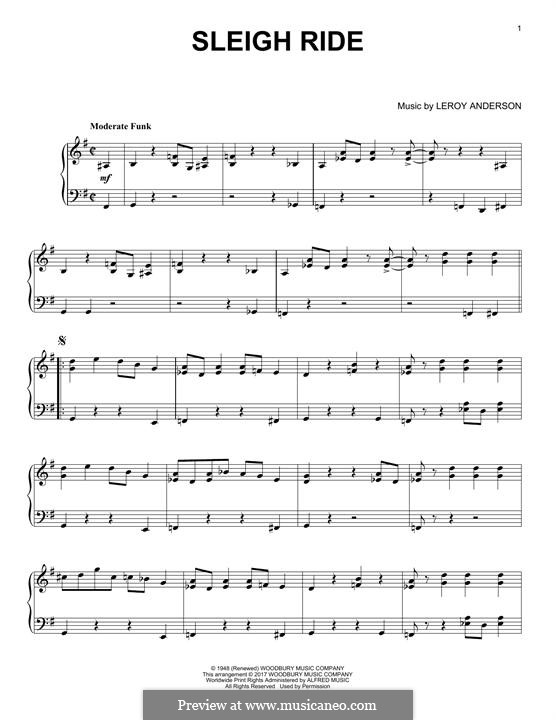 Sleigh Ride: For piano by Leroy Anderson