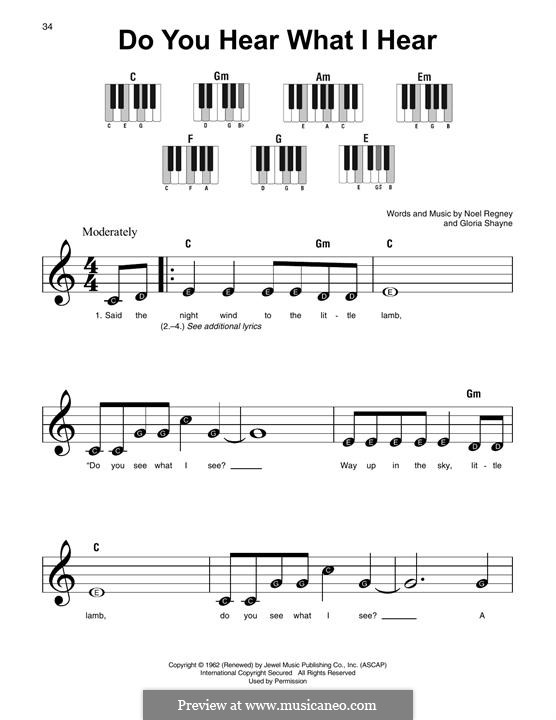 Do You Hear What I Hear, for Piano: Easy version by Gloria Shayne, Noël Regney