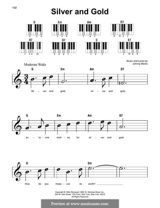 Silver and Gold: For piano by Johnny Marks