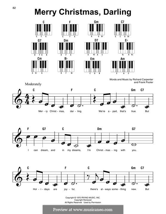 Merry Christmas, Darling (Carpenters): For easy piano by Frank Pooler, Richard Carpenter