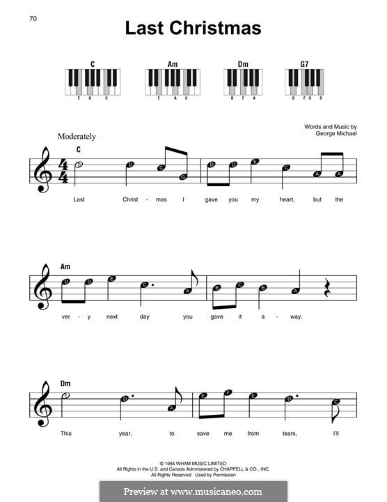 Last Christmas (Wham!): For piano by George Michael
