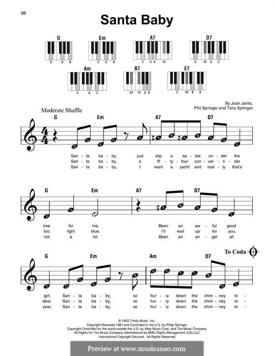 Santa Baby (Eartha Kitt): For easy piano by Joan Javits, Philip Springer, Tony Springer