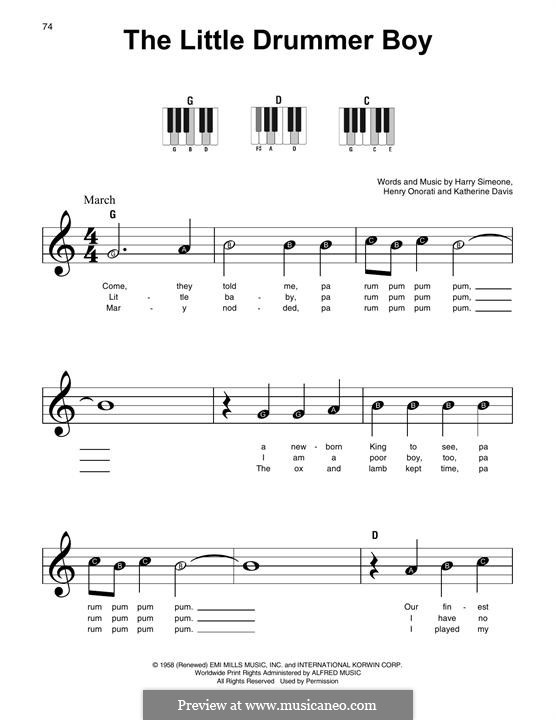 The Little Drummer Boy: For piano with lyrics by Harry Simeone, Henry Onorati, Katherine K. Davis