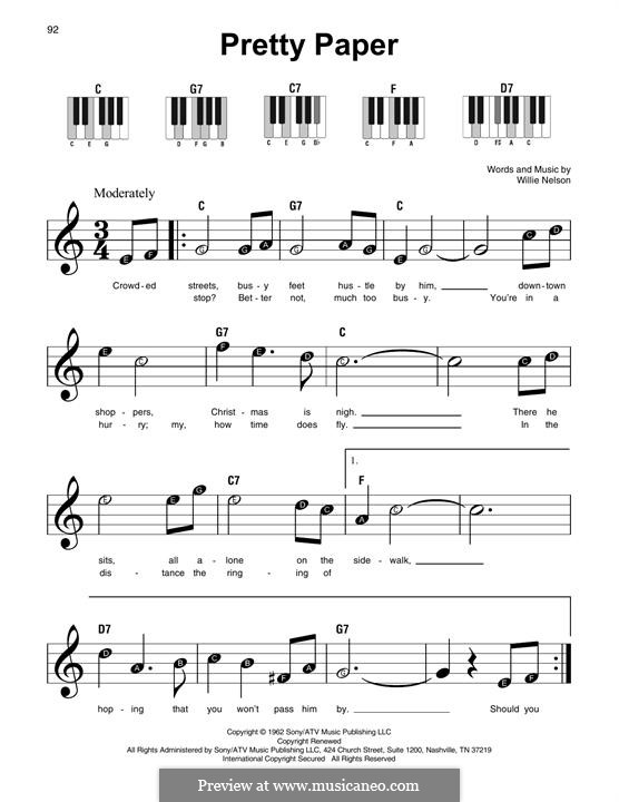 Pretty Paper: For piano by Willie Nelson