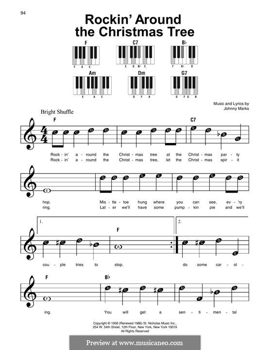 Rockin' Around the Christmas Tree: For easy piano by Johnny Marks