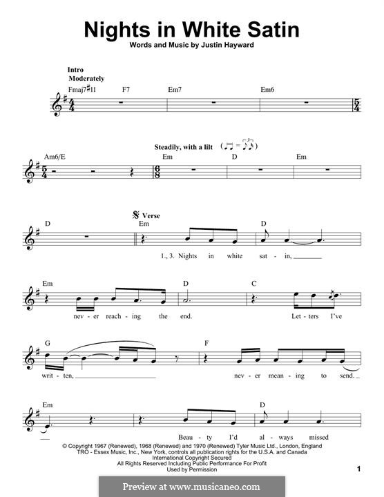 Nights in White Satin (The Moody Blues): Melody line by Justin Hayward