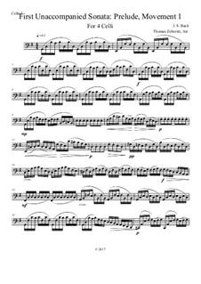 Six Suites for Cello, BWV 1007-1012: Suite No.1: Arrangement for four celli. All movements, all parts – complete score, Op.1 by Johann Sebastian Bach