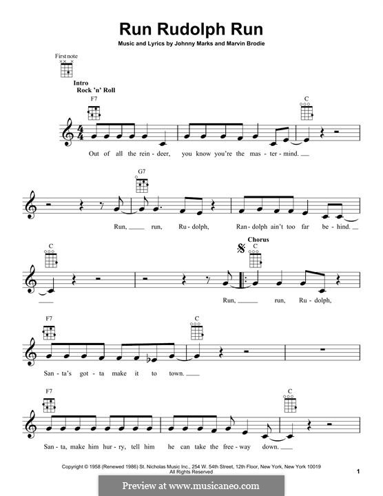 Run Rudolph Run by J. Marks, M. Brodie - sheet music on MusicaNeo