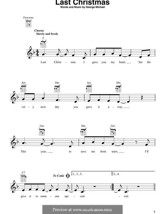 Last Christmas (Wham!): For ukulele by George Michael