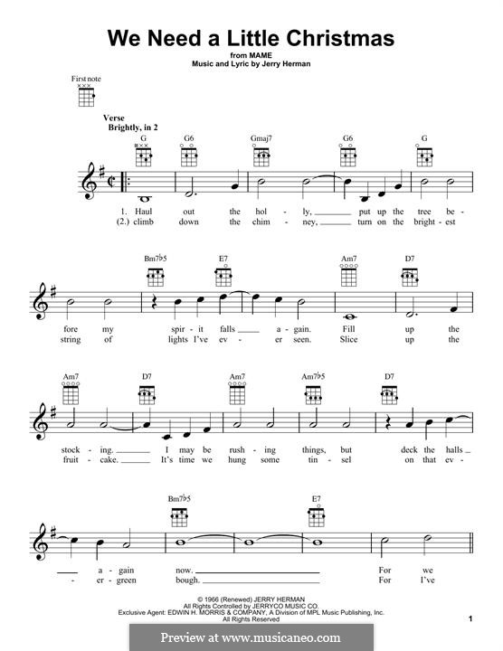 We Need a Little Christmas: For ukulele by Jerry Herman