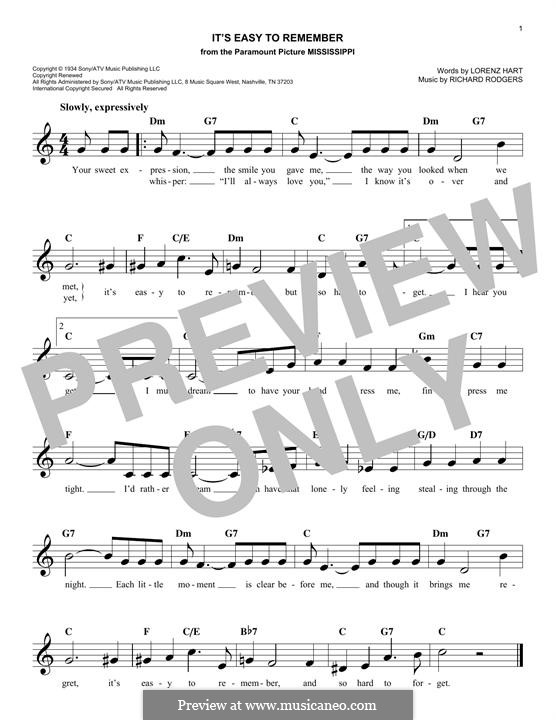 It's Easy to Remember: Melody line by Richard Rodgers