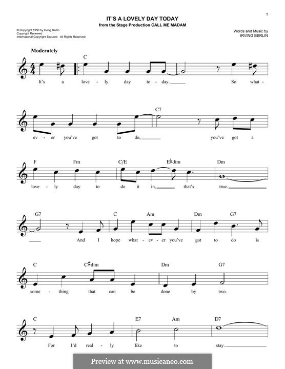 It's a Lovely Day Today: Melody line by Irving Berlin