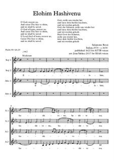 Elohim Hashivenu: SSAA chorus by Salamone Rossi