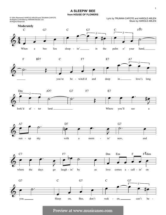 A Sleepin' Bee: Melody line (Truman Capote) by Harold Arlen