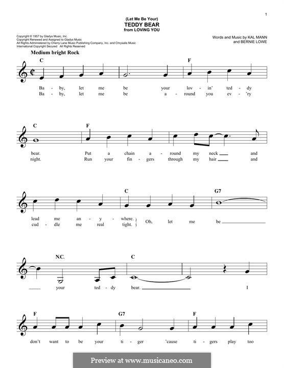 (Let Me Be Your) Teddy Bear (Elvis Presley): Melody line by Bernie Lowe, Kal Mann