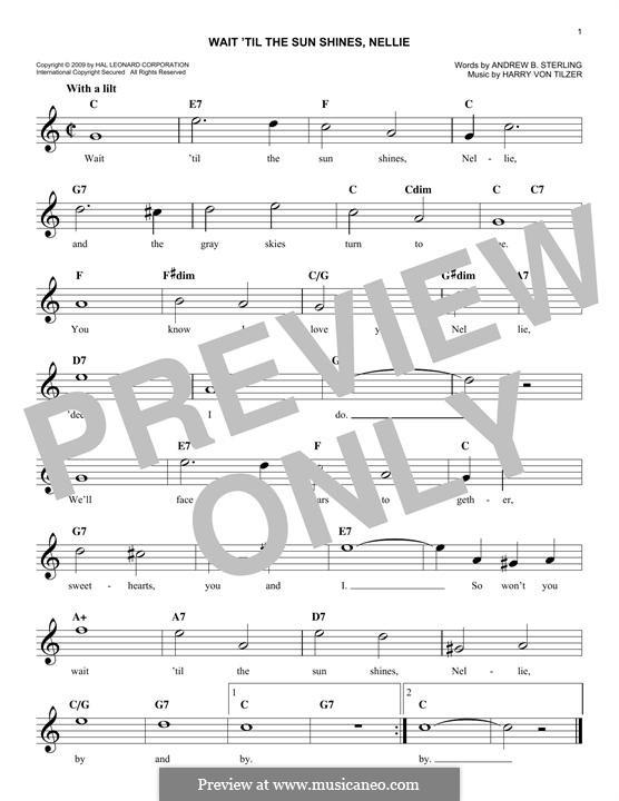 Wait 'Til the Sun Shines, Nellie: Melody line by Harry von Tilzer