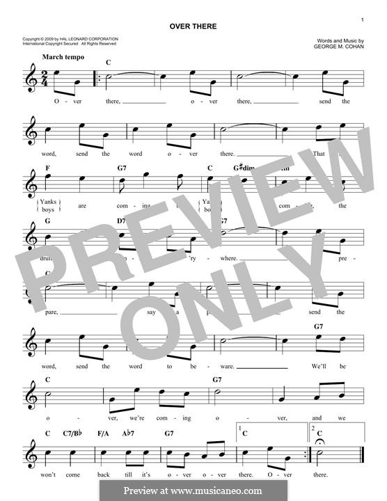 Over There: Melody line by George Michael Cohan