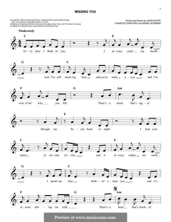 Missing You (John Waite): Melody line by Charles Sanford, Mark Leonard