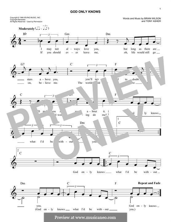 God Only Knows (The Beach Boys): Melody line by Brian Wilson, Tony Asher