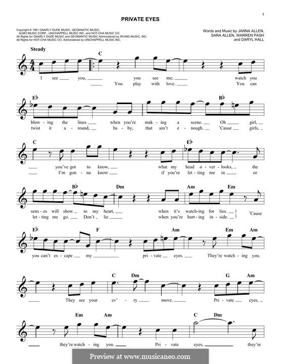 Private Eyes (Hall & Oates): Melody line by Daryl Hall, Janna Allen, Sara Allen, Warren Pash