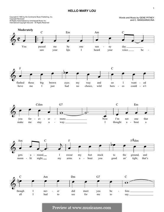 Hello Mary Lou (Ricky Nelson): Melody line by Cayet Mangiaracina, Gene Pitney