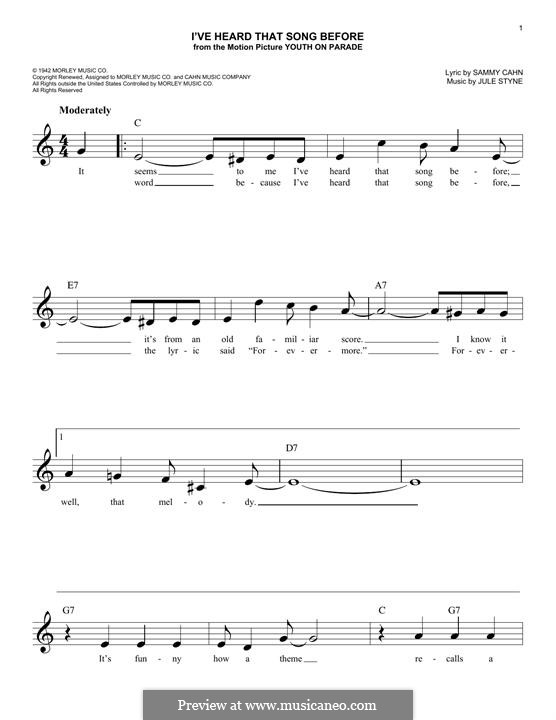 I've Heard That Song Before (Harry James): Melody line by Jule Styne