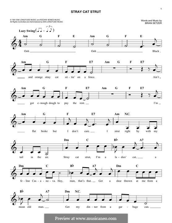 Stray Cat Strut (Stray Cats): Melody line by Brian Setzer
