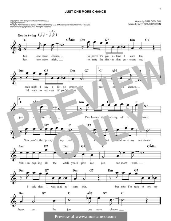 Just One More Chance (Bing Crosby): Melody line by Arthur Johnston