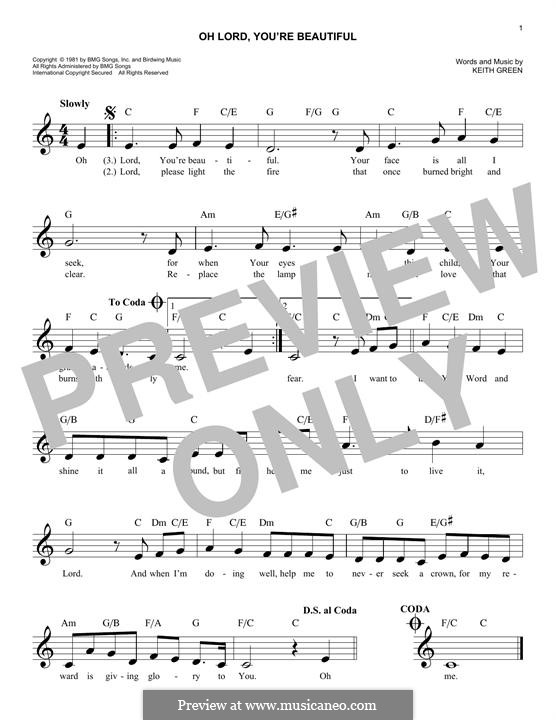 Oh Lord, You\'re Beautiful by K. Green - sheet music on MusicaNeo