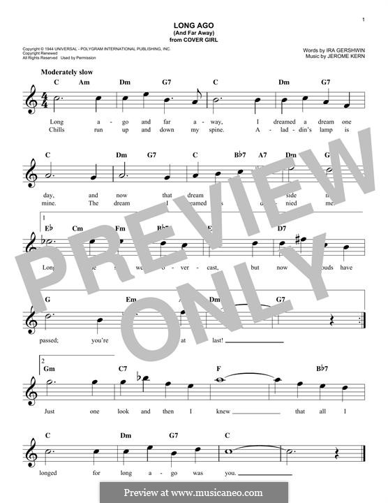 Long Ago (and Far Away): Melody line by Jerome Kern