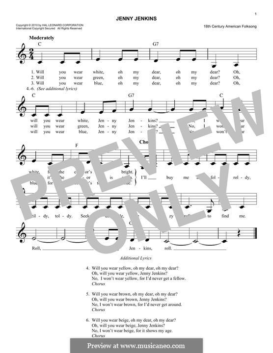 Jenny Jenkins: Melody line by folklore