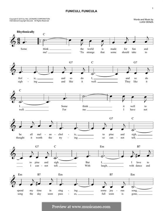 Funiculi, Funicula: Melody line by Luigi Denza