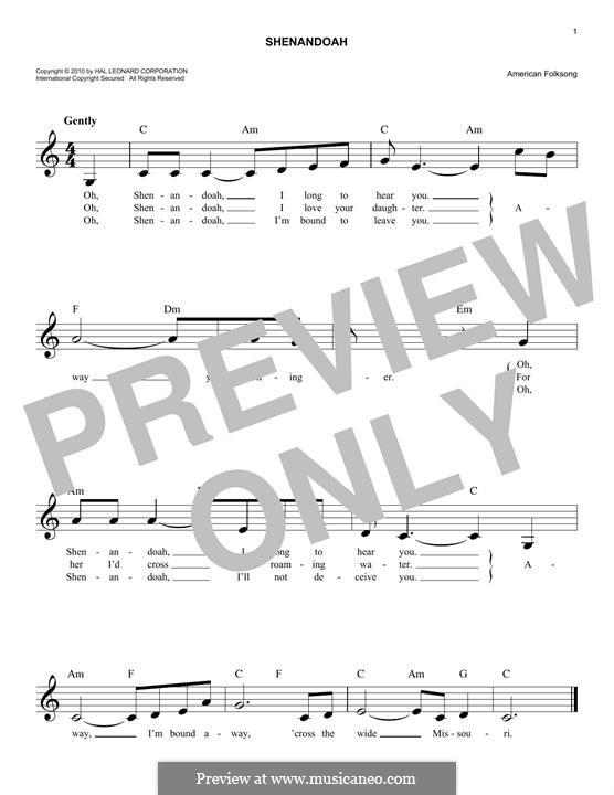 Shenandoah: Melody line by folklore