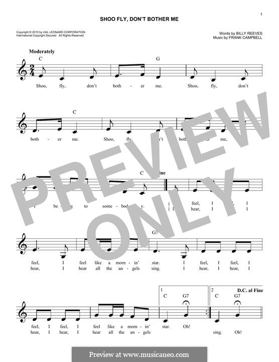 Shoo Fly, Don't Bother Me: Melody line by Frank Campbell
