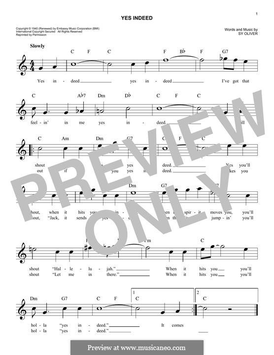 Yes Indeed (Frank Sinatra): Melody line by Sy Oliver