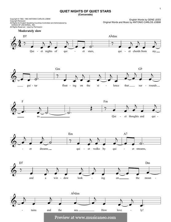 Corcovado (Quiet Nights of Quiet Stars): Melody line by Antonio Carlos Jobim