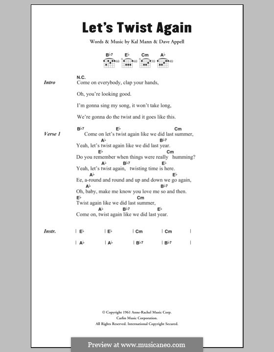 Let's Twist Again (Chubby Checker): Lyrics and chords by Dave Appell, Kal Mann