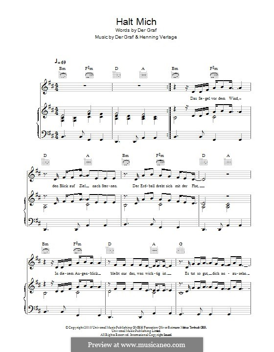 Halt Mich (Unheilig): For voice and piano (or guitar) by Der Graf, Henning Verlage