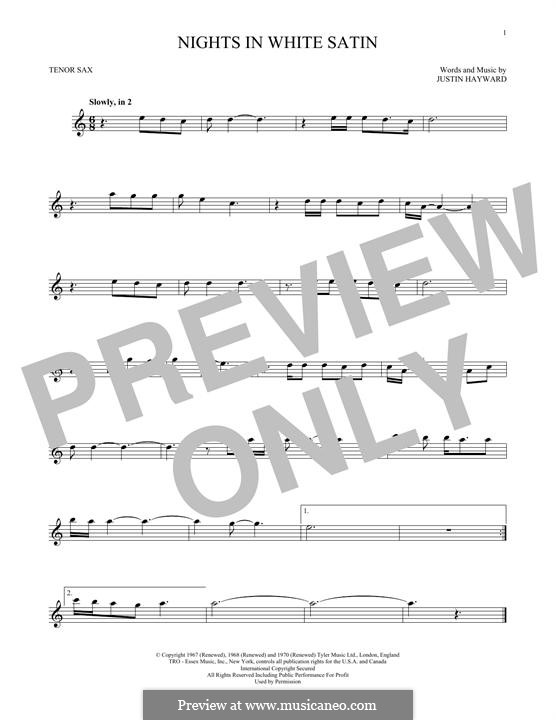 Nights in White Satin (The Moody Blues): For tenor saxophone by Justin Hayward