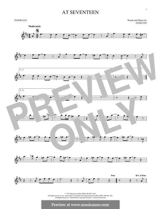 At Seventeen: For tenor saxophone by Janis Ian