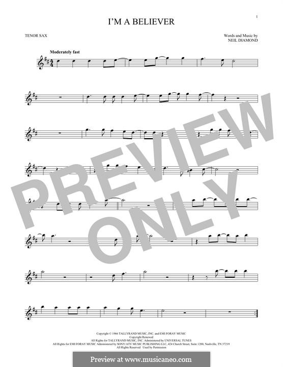 I'm a Believer: For tenor saxophone by Neil Diamond