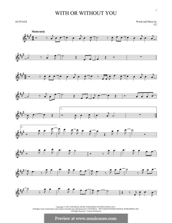 With or without You: For alto saxophone by U2