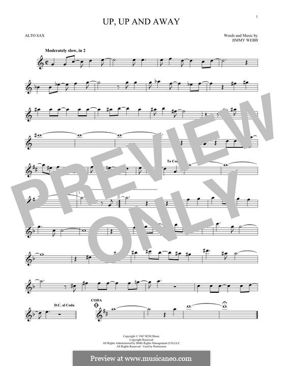 Up, Up and Away (The Fifth Dimension): For alto saxophone by Jimmy Webb